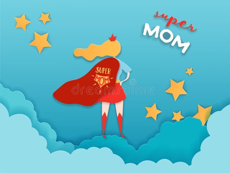 Mutter-Tagesgru?-Karte in der geschnittenen Papierart Supermutter-Charakter im roten Kap-Entwurf f?r Mutter-Tagesfahne, Plakat stock abbildung