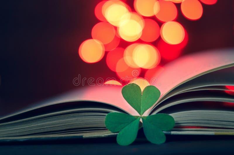 Mutter-Tageskarte: Herz geformte Blätter und offenes Buch stockfoto