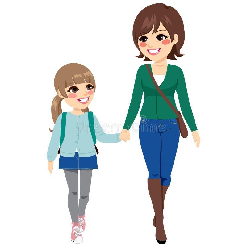 Mutter-Tochter-gehende Schule vektor abbildung