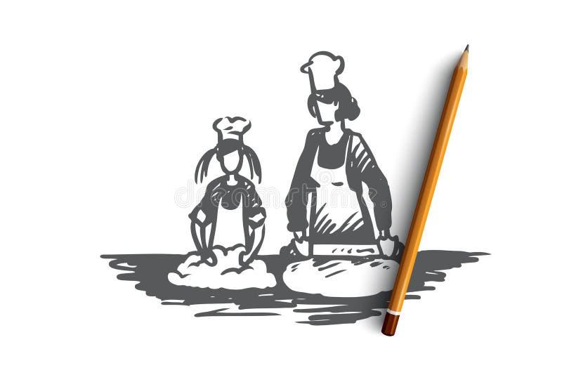 Mutter, Tochter, kochend, Erziehnungskonzept Hand gezeichneter lokalisierter Vektor stock abbildung
