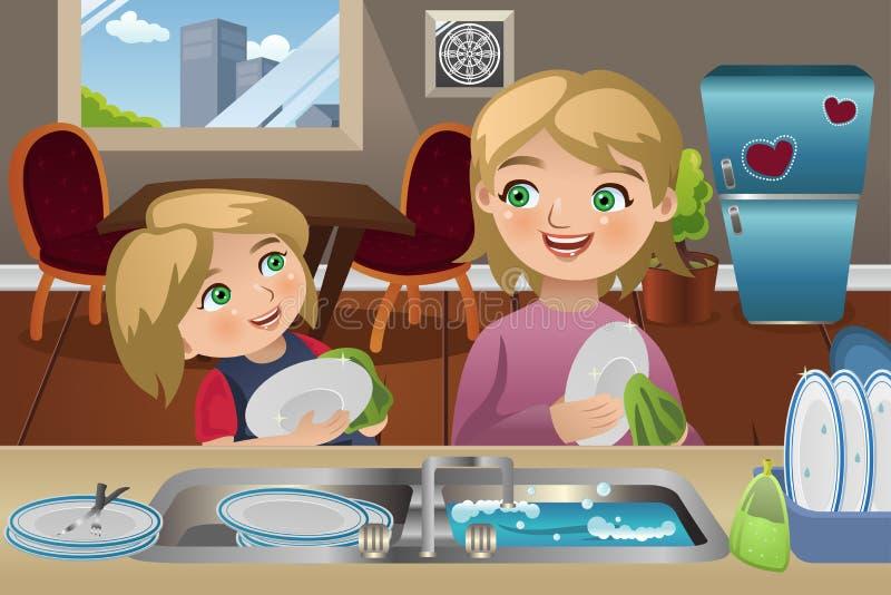 Mutter-Tochter-waschende Teller stock abbildung