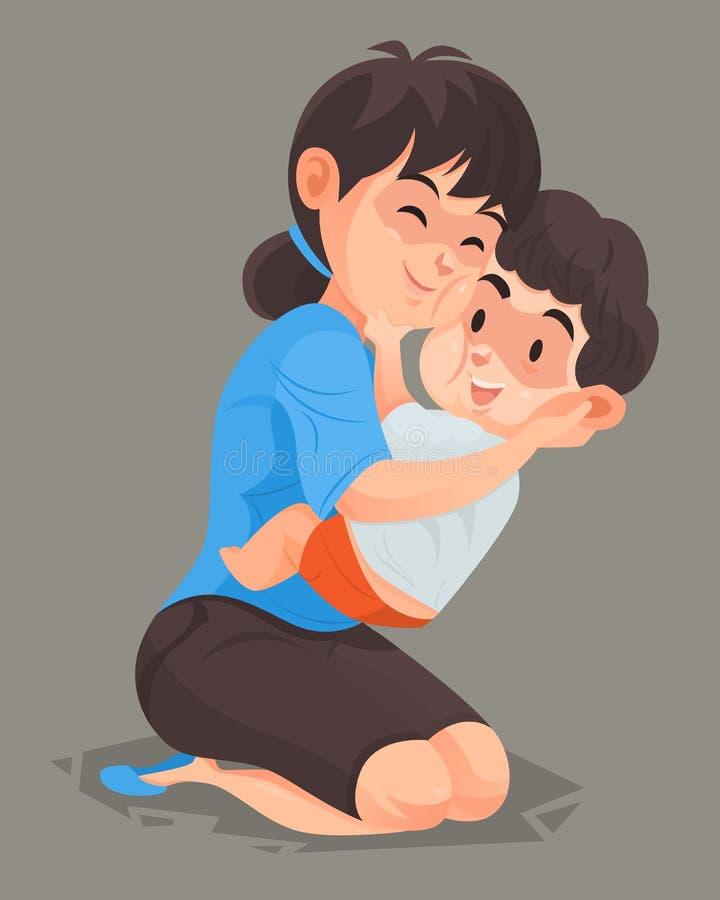 Mutter umarmen ihren Sohn stock abbildung