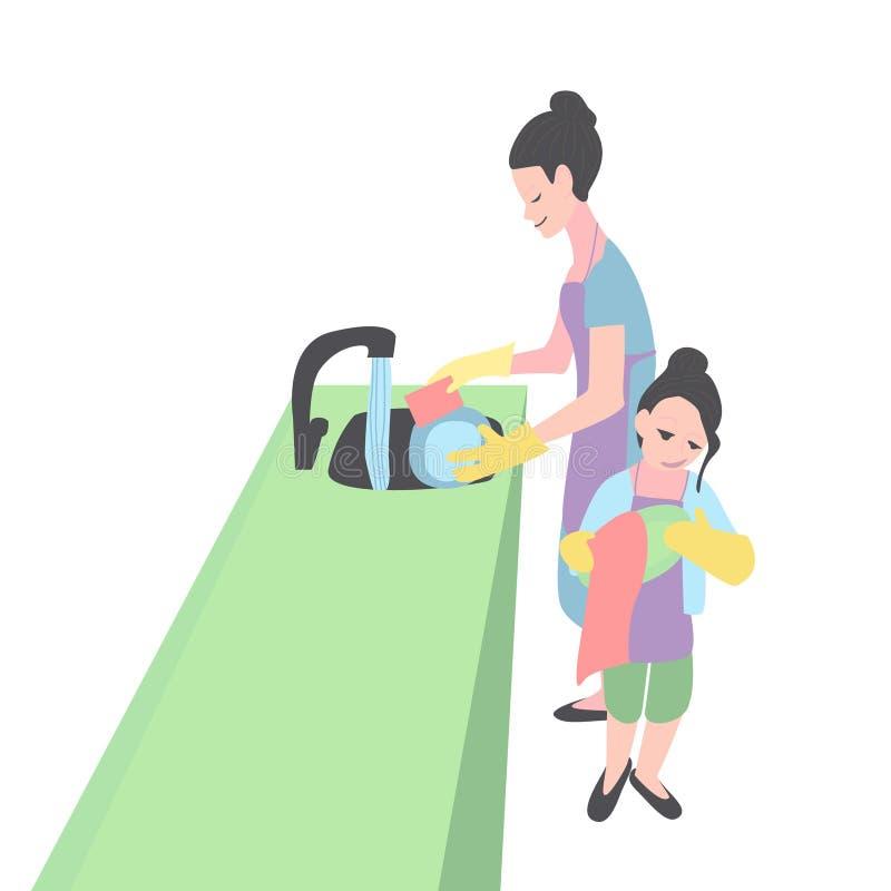 Mutter- und der Tochterwaschende Teller Frau und M?dchen lizenzfreie abbildung