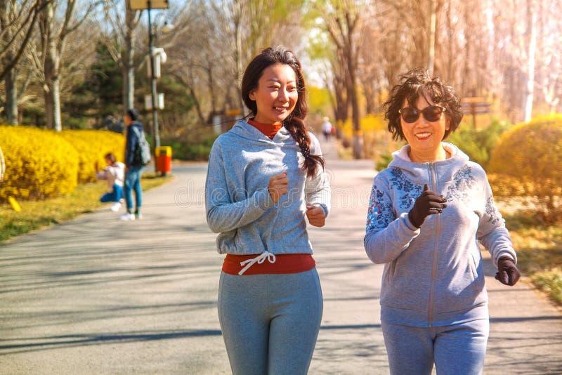 Mutter und erwachsene Tochter, die für Sport im Park für bessere Eignung laufen stockfotografie
