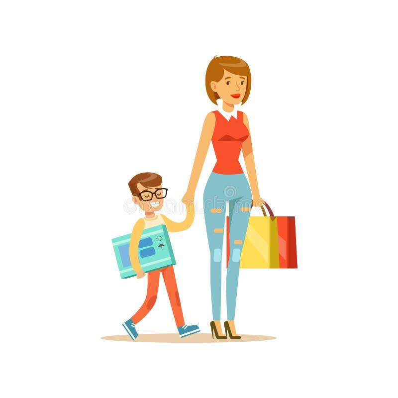 Mutter und glücklicher lächelnder Sohn mit buntem Charakter der Einkaufstaschen vector Illustration lizenzfreie abbildung
