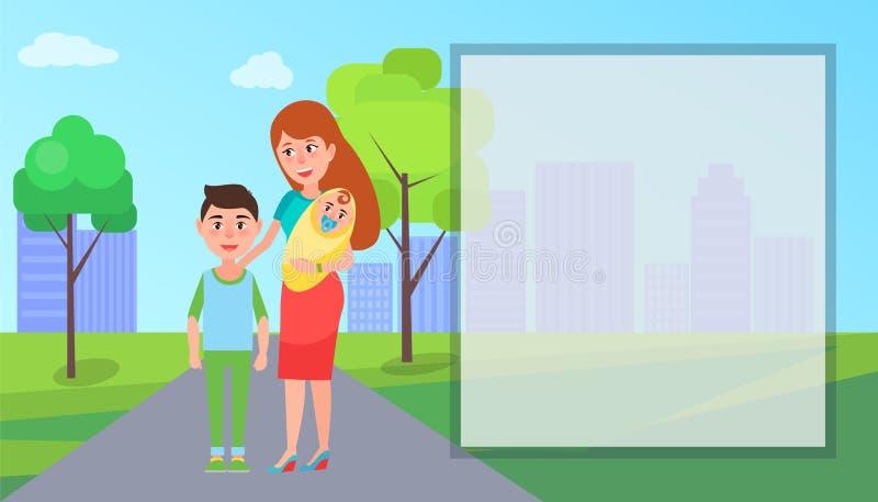 Mutter und ihre Kinder auf Straßen-Vektor-Illustration stock abbildung