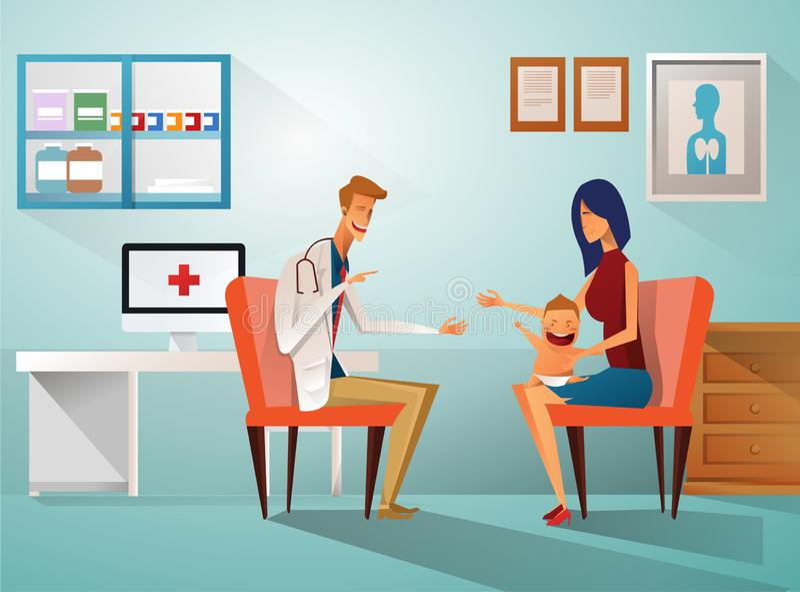 Mutter und Junge, zum von Doktor zu sehen, am Tisch im Krankenhaus, Krankenhaus, Klinik zu sitzen Pille im hand Charakterfachmann lizenzfreie abbildung