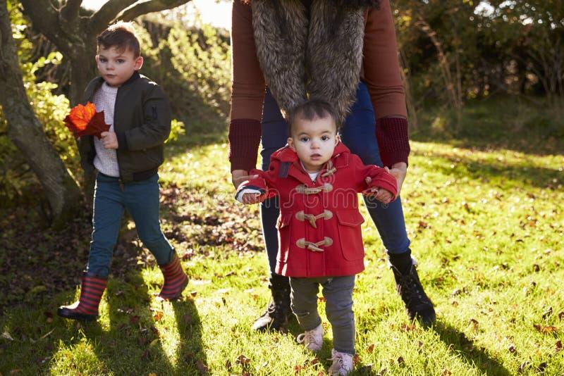Mutter und Kinder, die mit Autumn Leaves im Garten spielen stockbild