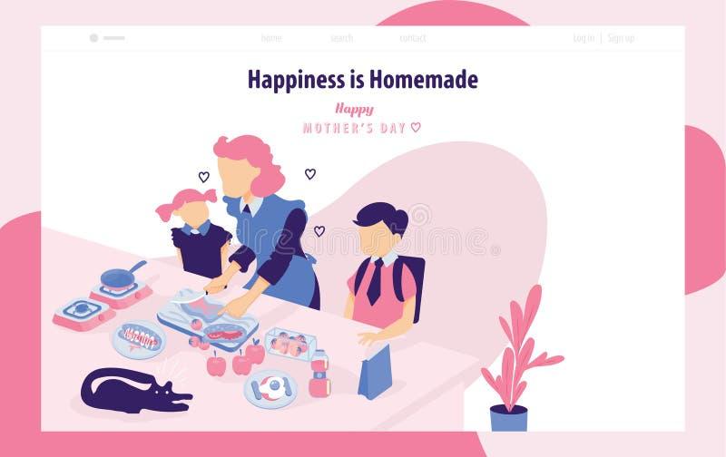 Mutter und Kinder, die zusammen mit Rosa und blauem Hintergrund - Landungsseitenschablonen für glücklichen Muttertag kochen, stock abbildung