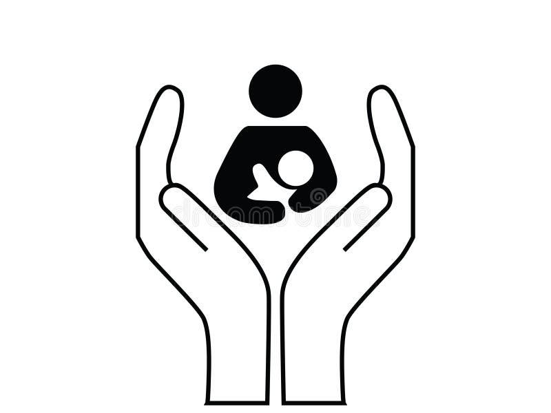 Mutter und Kinderbetreuung lizenzfreie abbildung