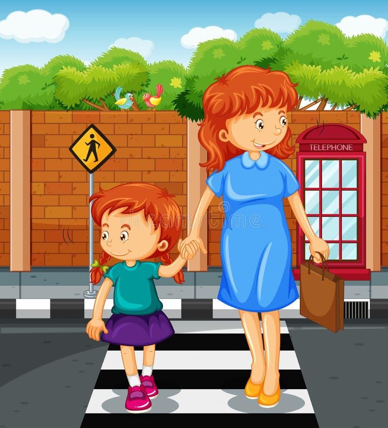 Mutter und Mädchen, welche die Straße kreuzen vektor abbildung