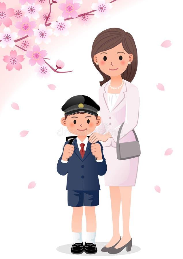Mutter und Sohn auf cherryblossom Hintergrund vektor abbildung