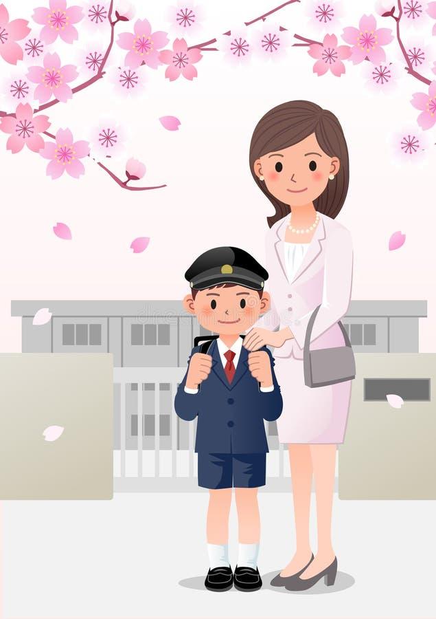 Mutter und Sohn auf Schulhintergrund unter Kirschblütenbäumen stock abbildung
