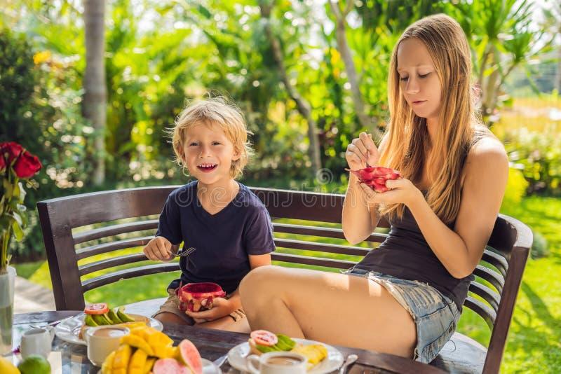 Mutter und Sohn frühstücken auf der Terrasse lizenzfreies stockbild