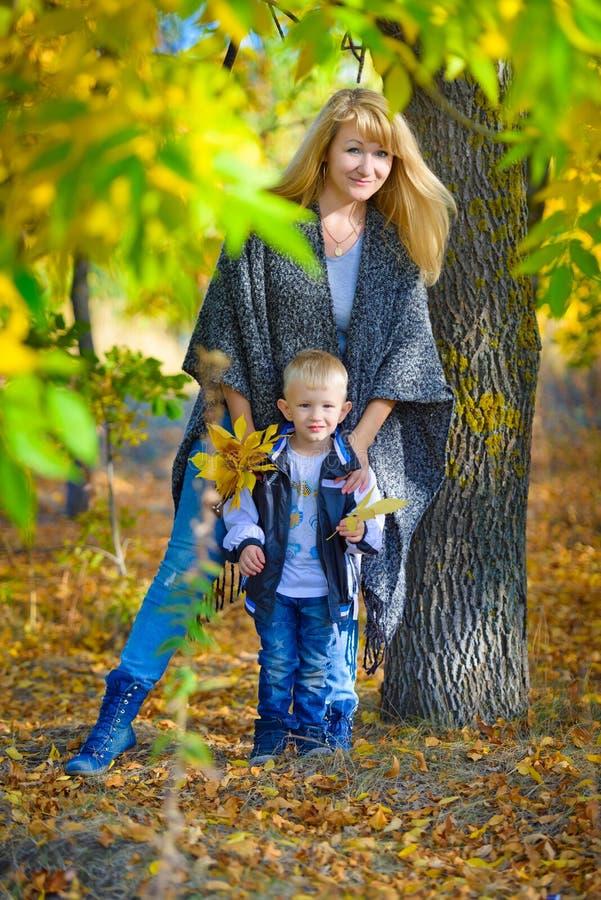 Mutter und Sohn im Herbstpark stockfotos