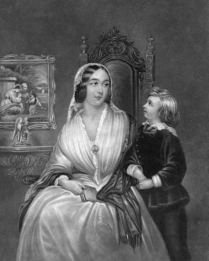 Mutter und Sohn stehen liebevoll zusammen Illustration lizenzfreie abbildung
