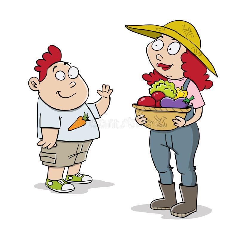 Mutter- und Sohnlandwirte lizenzfreie abbildung