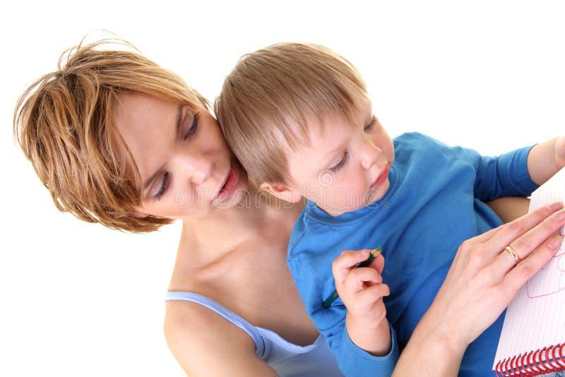 Mutter- und Sohnzeichnung lizenzfreie stockfotografie