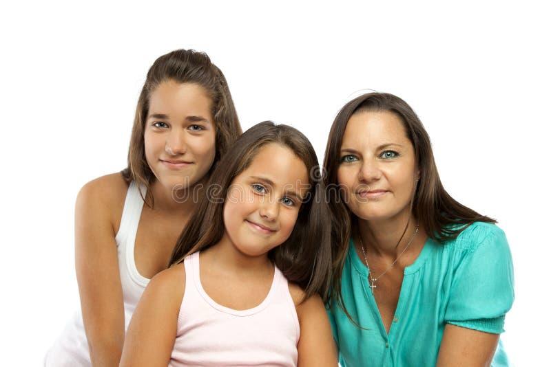 Mutter und Töchter getrennt auf Weiß lizenzfreies stockbild