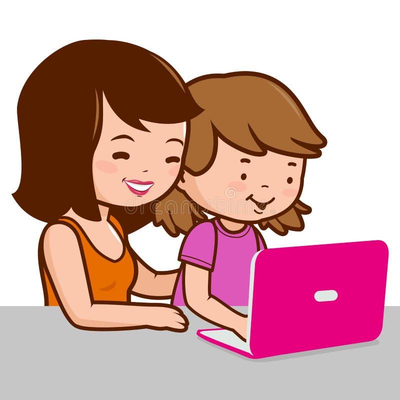 Mutter und Tochter auf dem Computer lizenzfreie abbildung