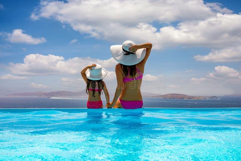 Mutter und Tochter, die auf einem Poolrand sitzen und die Ansicht zum Meer genießen lizenzfreie stockbilder
