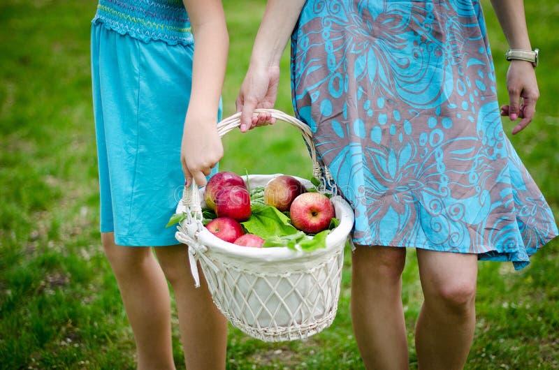 Mutter und Tochter, die den Korb von Äpfeln halten stockfoto