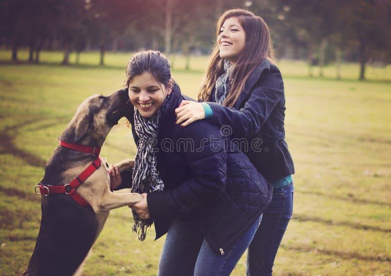 Mutter und Tochter, die mit Hund spielen lizenzfreie stockfotos
