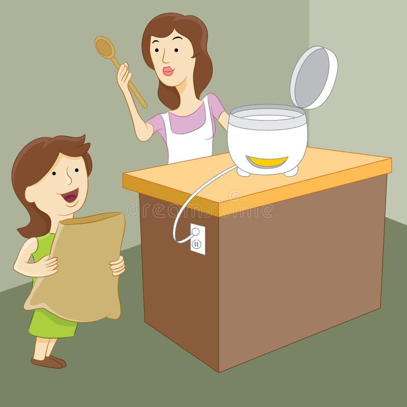 Mutter und Tochter, die Reis machen lizenzfreie abbildung