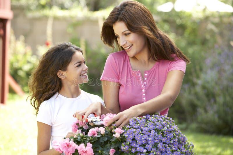 Mutter und Tochter, die zusammen im Garten arbeiten lizenzfreie stockfotografie