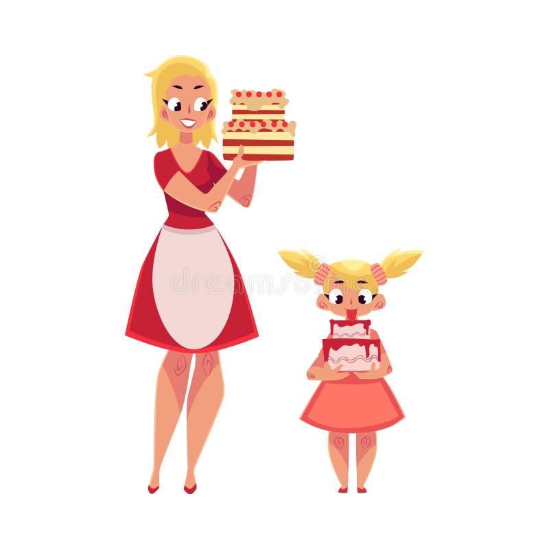 Mutter und Tochter, welche die Geburtstagskuchen, werden zur Partei hält fertig stock abbildung