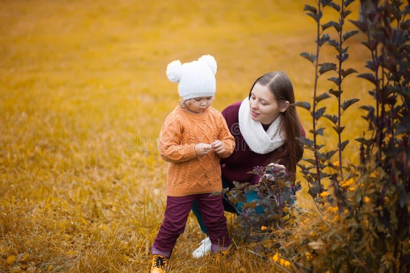Mutter und Tochter zusammen in den Gelben und des Rotes Blättern des Parks, des Falles, lizenzfreies stockbild