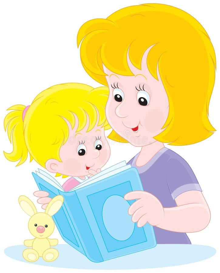 Mutter- und Tochterlesung lizenzfreie abbildung