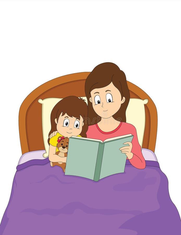 Mutter- und Tochterlesung und hörende Gutenachtgeschichte lizenzfreies stockbild