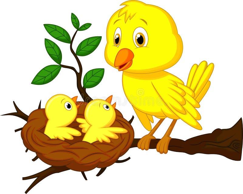 Mutter- und Vogelbabykarikatur vektor abbildung