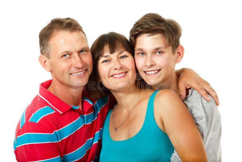 Mutter, Vater mit Sohnjugendlichem Glückliche kaukasische Familie stockfotografie