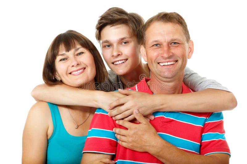 Mutter, Vater mit Sohnjugendlichem Glückliche kaukasische Familie, die hat lizenzfreie stockfotografie