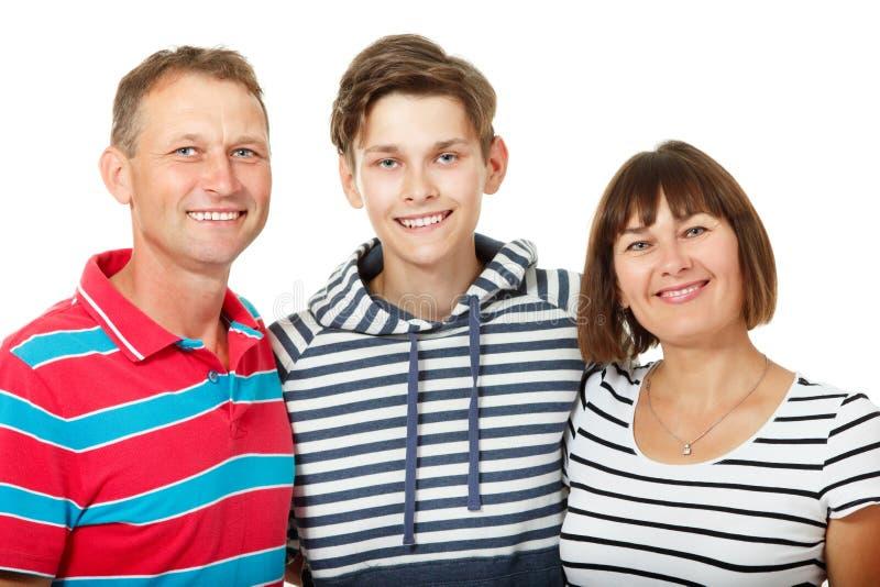 Mutter, Vater mit Sohnjugendlichem Glückliche kaukasische Familie, die hat lizenzfreies stockbild