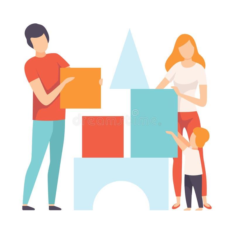Mutter, Vater und Sohn, die zu Hause Toy Cubes, Familie in der Alltagsleben-Vektor-Illustration spielen vektor abbildung