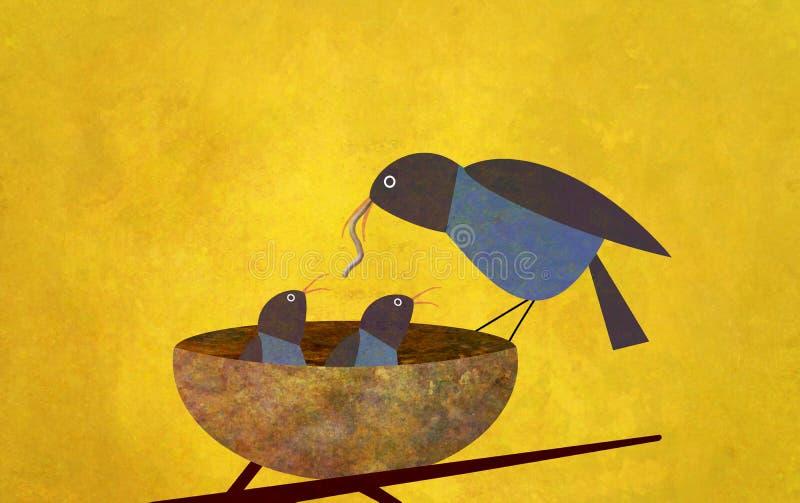 Mutter-Vogel und Schätzchen lizenzfreie abbildung