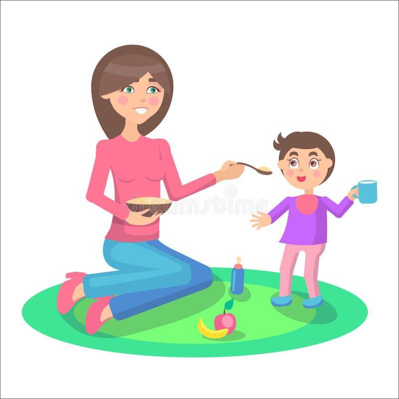Mutter zieht Baby ein, das Schale steht und hält vektor abbildung
