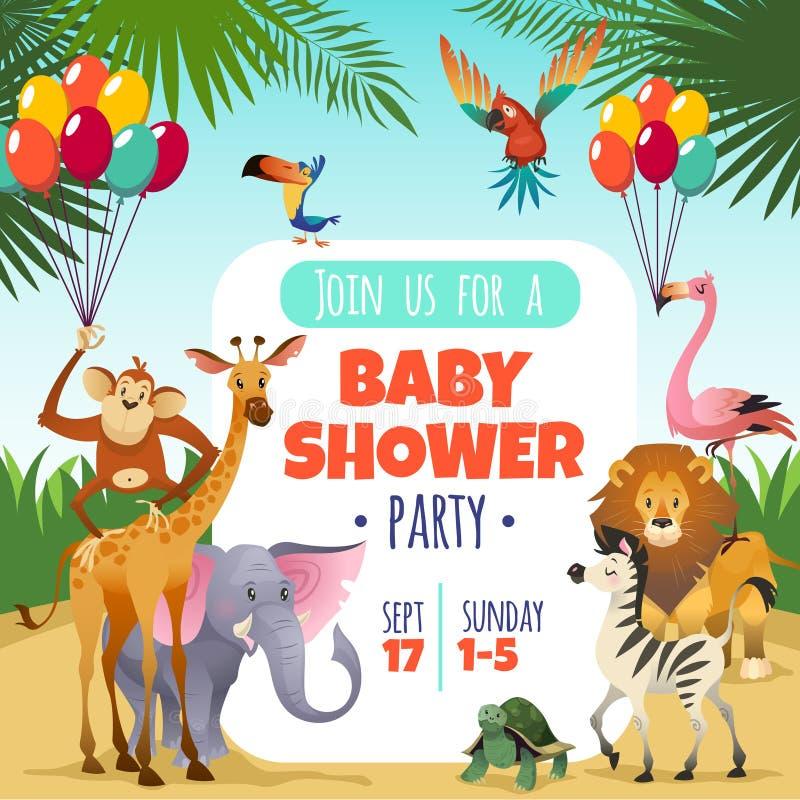 Mutterbabyparty Tropische Tierkarte des Schabloneneinladungskinderparteigrußbabys, Karikaturvektorillustration stock abbildung