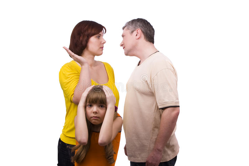 Muttergesellschaft schwören und Kinder leiden. stockbilder