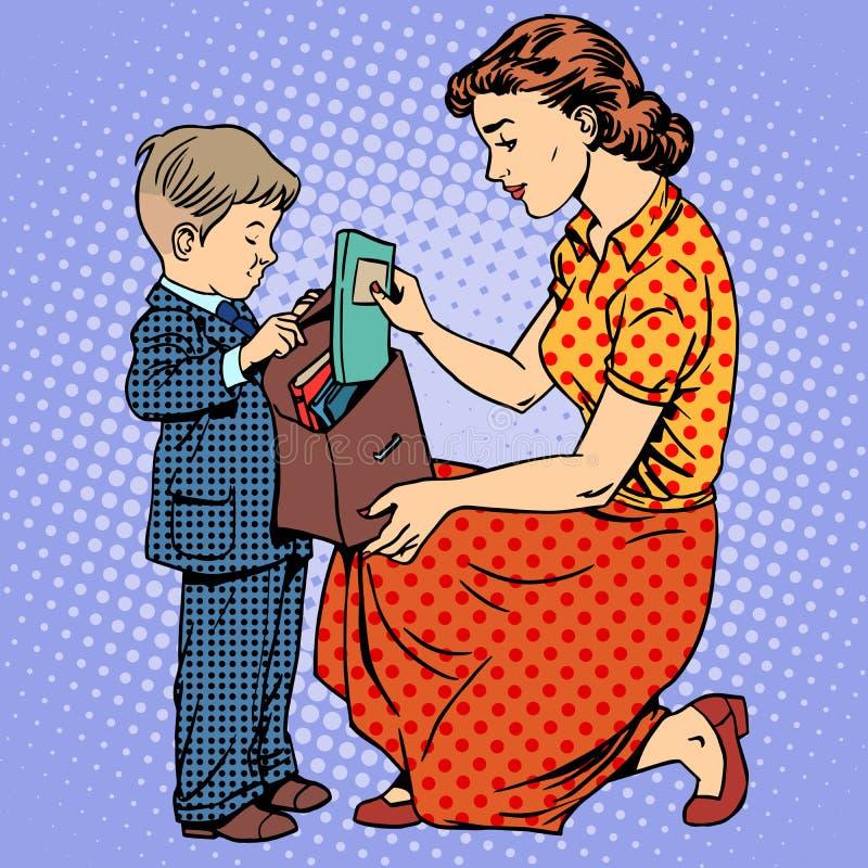Mutterhilfskind kommen zur Schule stock abbildung
