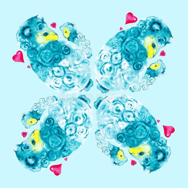 Mutterlamm liebevoll umgeben durch die roten Herzen, die an seine Hände ein kleines Lamm halten Komische Aquarellillustration lok stock abbildung