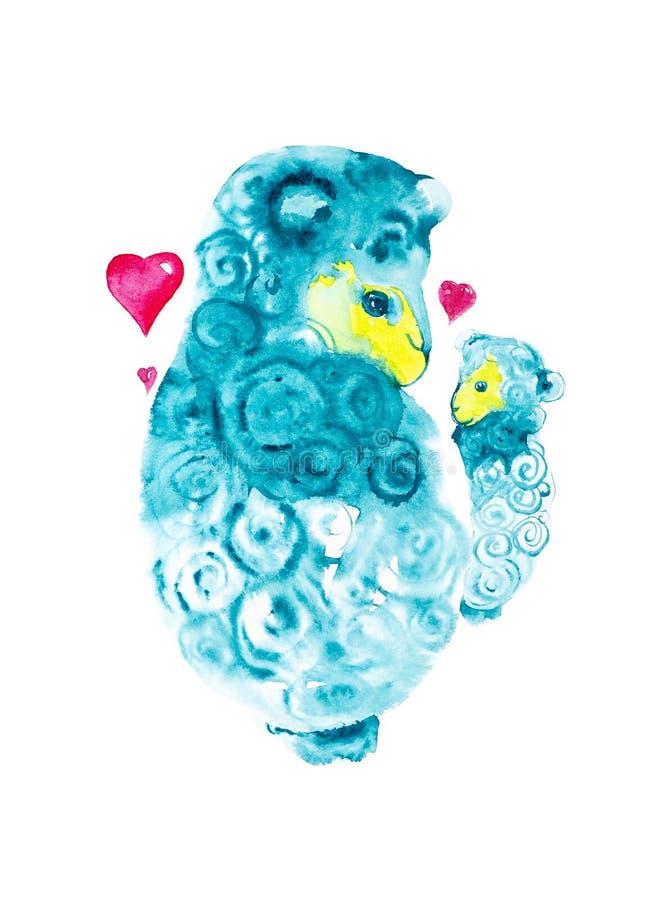 Mutterschafe umgeben durch die roten Herzen, die liebevoll an seine Hände ein kleines Lamm halten Komische Aquarellillustration l lizenzfreie abbildung