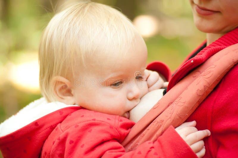 Mutterstillendes Schätzchen im Park lizenzfreie stockfotografie