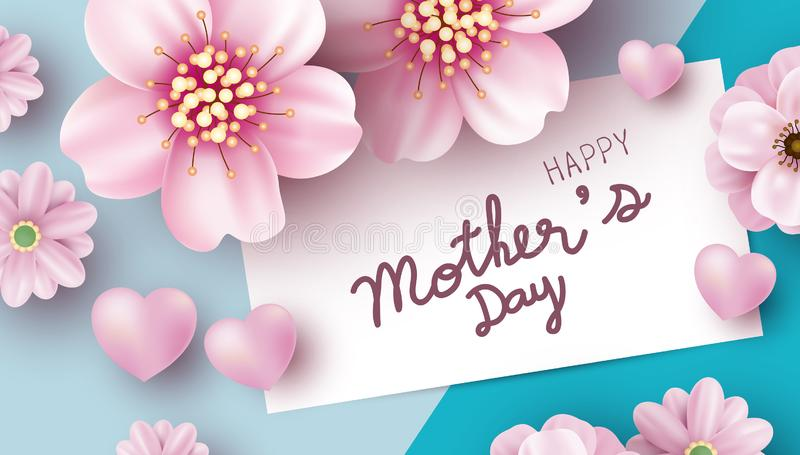Muttertagkartenentwurf von rosa Blumen auf Farbpapierhintergrund-Vektorillustration vektor abbildung