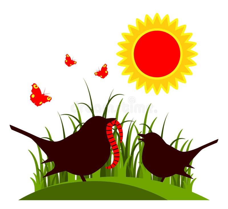 Muttervogel und -Vogelbaby vektor abbildung