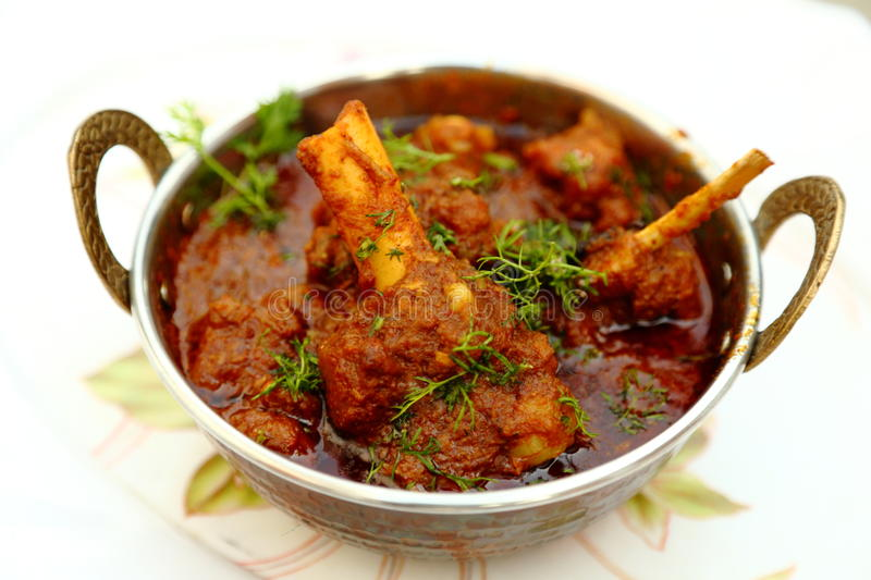 Mutton meal in copper bowl royalty free stock images