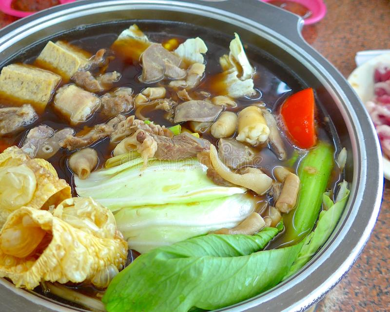Mutton hot pot with Chinese herb. In Taiwan royalty free stock images